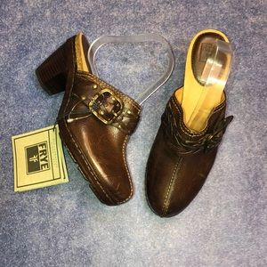 FRYE~Candace Woven Brown Leather Clogs~8.5